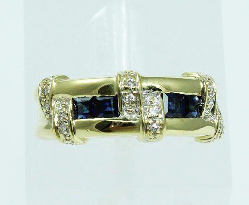 Anel De Ouro 18k750 Diamantes Safiras 1948