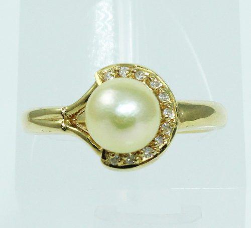 Anel De Ouro 18k750 Diamantes Pérola 1941