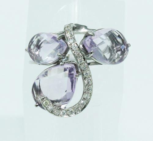 Anel Ouro Branco 18k750 Diamantes Ametista 1926