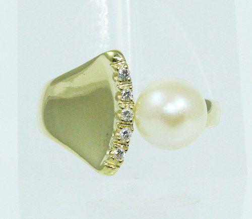 Anel De Ouro 18k750 Diamantes Pérola 1923
