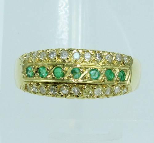 Anel De Ouro 18k750 Diamantes Esmeraldas 1919