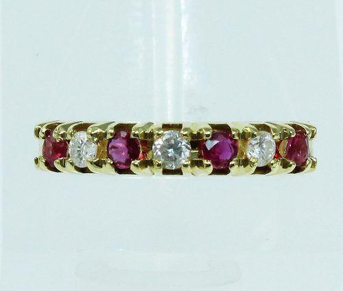 Anel De Ouro 18k750 Diamantes Rubis 1918