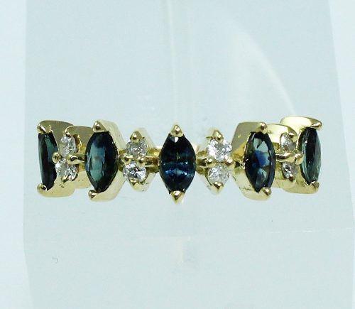 Anel De Ouro 18k750 Diamantes Safiras 1911