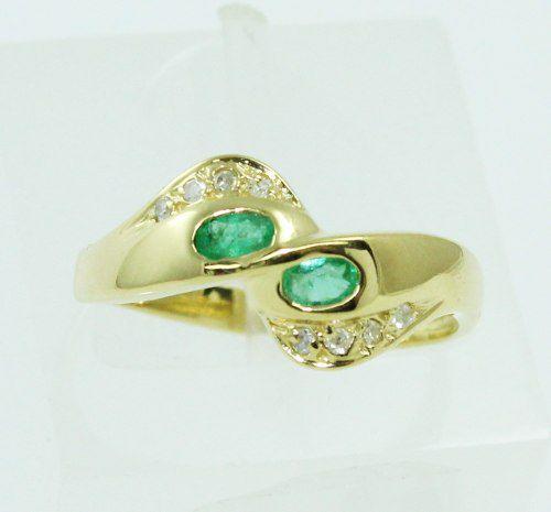 Anel De Ouro 18k750 Diamantes Esmeralda 2250