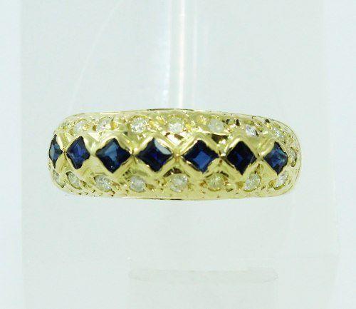 Anel De Ouro 18k750 Diamantes Safira Azul 2249