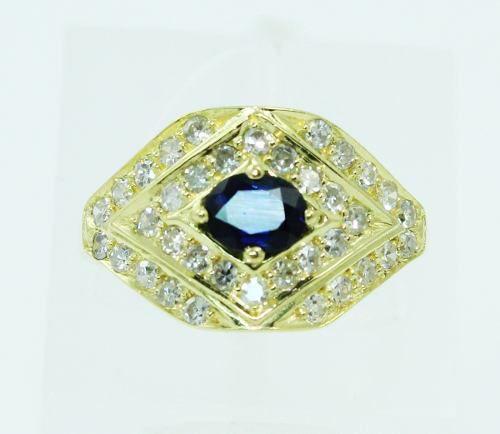 Anel De Ouro 18k750 Diamantes Safiras 2247