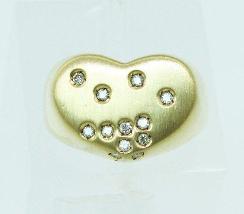 Anel De Ouro 18k750 Diamantes Coração 2246