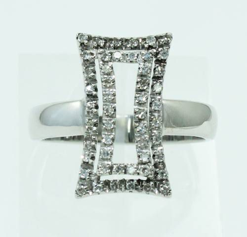 Anel De Ouro Branco 18k750 Diamantes 2193