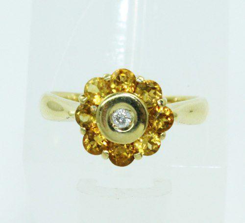 Anel De Ouro 18k750 Diamantes Citrino 2244