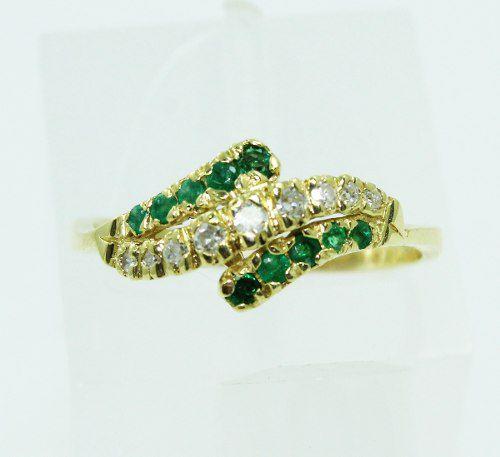 Anel De Ouro 18k750 Diamantes Esmeraldas 2242