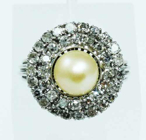 Anel De Ouro Branco 18k750 Pérola Diamantes 1896