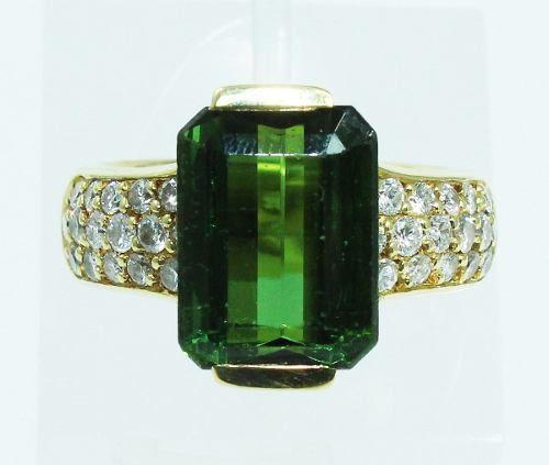 Anel Ouro 18k750 Turmalina Diamantes Hstern 1892