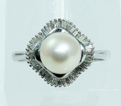 Anel De Ouro Branco 18k750 Pérola Diamantes 1895