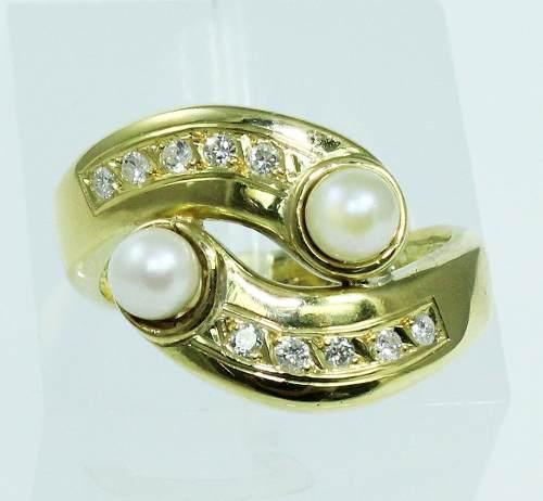 Anel De Ouro 18k750 Diamantes 1889