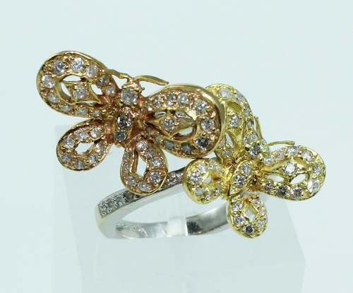 Anel De Ouro 18k750 Borboleta Diamantes 1887