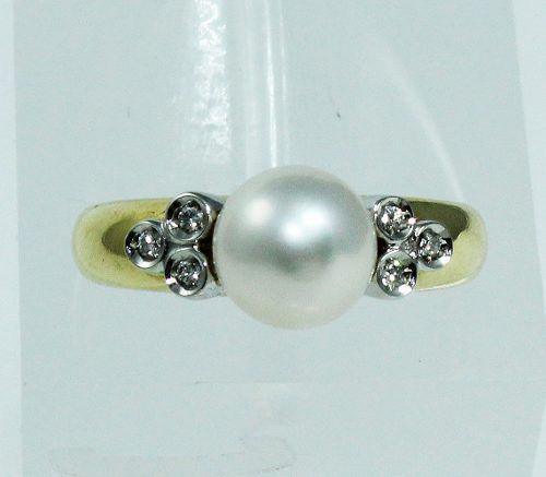 Anel De Ouro 18k750 Diamantes Pérola 1858