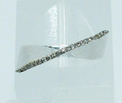 Anel De Ouro Branco 18k750 Diamantes 1856