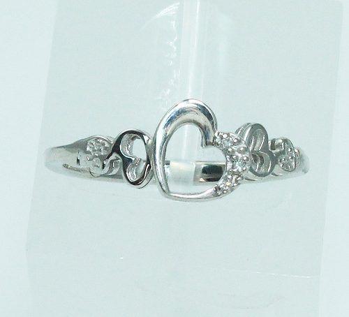 Anel De Ouro Branco 18k750 Coração Diamantes 1855