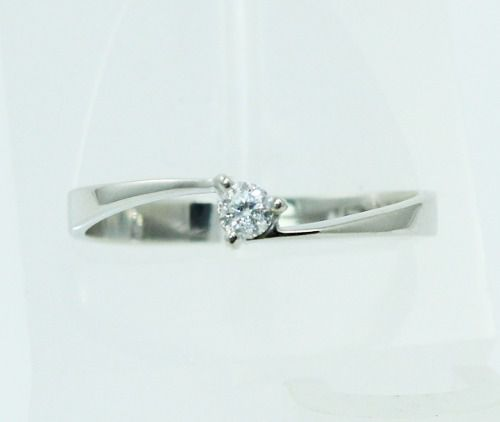 Anel De Ouro Branco 18k750 Diamante 1853