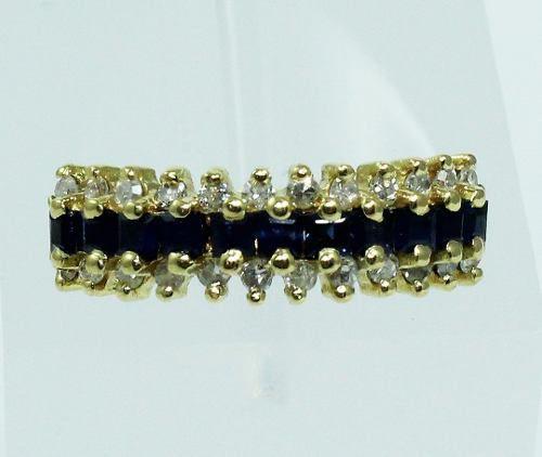 Anel De Ouro 18k750 Diamantes Safiras 1846