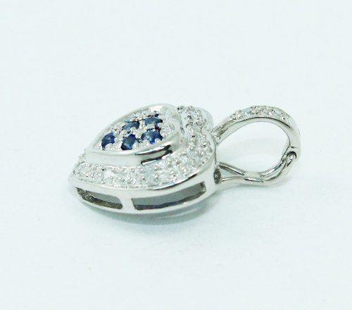 Pingente Ouro Branco 18k750 Coração Diamante P667
