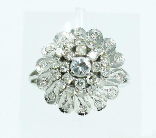 Anel De Ouro Branco 18k750 Diamantes 1830