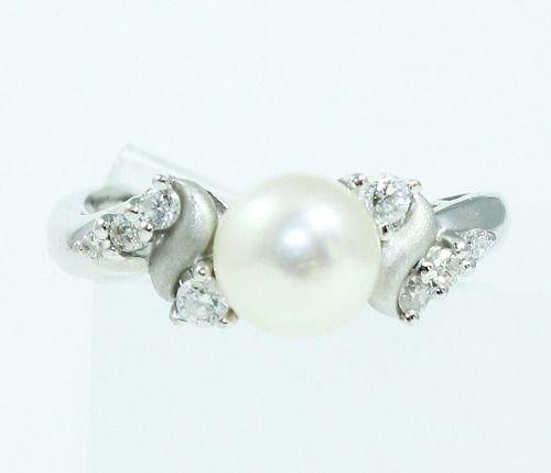 Anel De Ouro Branco 18k750 Diamantes Pérola 1803