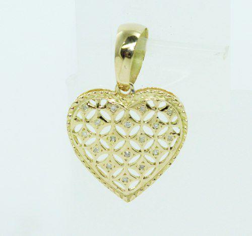 Pingente De Ouro 18k750 Coração Diamantes P668