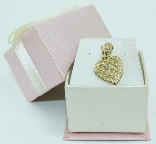 Pingente De Ouro 18k750 Coração Diamantes P665