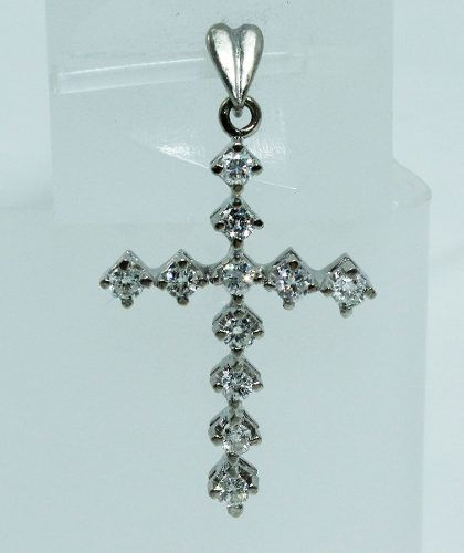 Pingente Ouro Branco 18k750 Cruz Diamantes P587