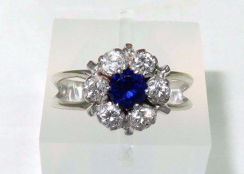 Anel Ouro Branco 18k750 Diamantes E Safira 1101