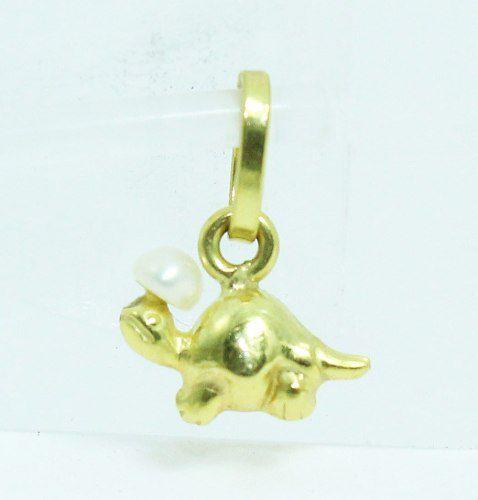 Pingente De Ouro 18k750 Dinossauro Diamantes P575