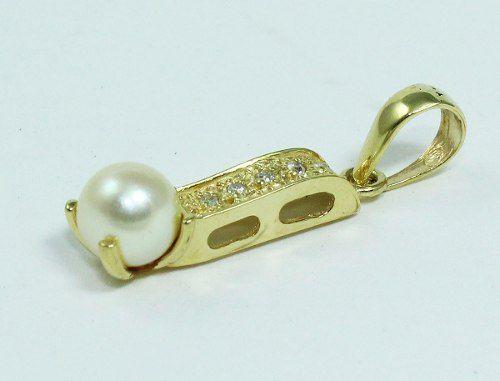 Pingente De Ouro 18k750 Diamantes Pérola P571