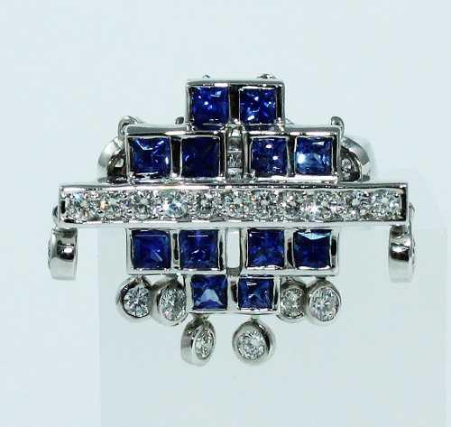 Anel De Ouro 18k750 Diamantes Safiras 1787