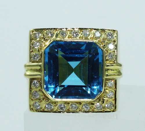 Anel De Ouro 18k750 Diamantes Topázio 1785
