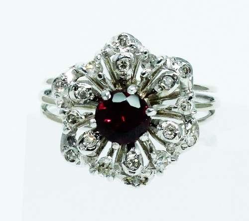 Anel De Ouro Branco 18k750 Diamante Ametista 1774