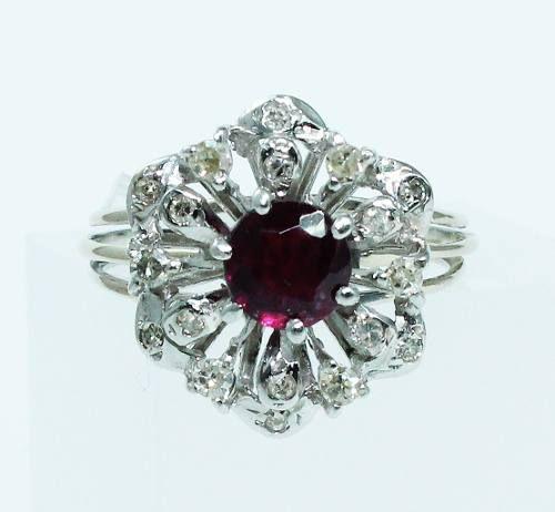 Anel De Ouro Branco 18k750 Diamante Ametista 1773