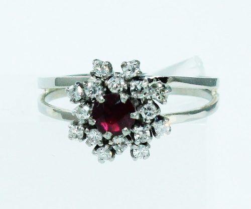Anel De Ouro Branco 18k750 Diamante Ametista 1771