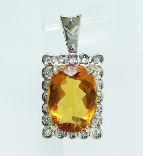 Pingente De Ouro 18k750 Diamantes Citrino P570