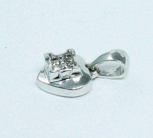 Pingente Ouro Branco 18k750 Coração Diamante P564