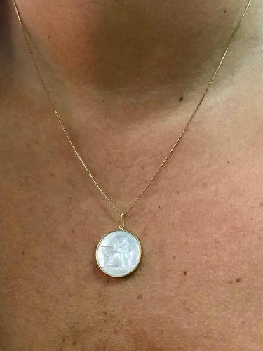 Pingente De Ouro 18k750 Anjo Madre Pérola P554