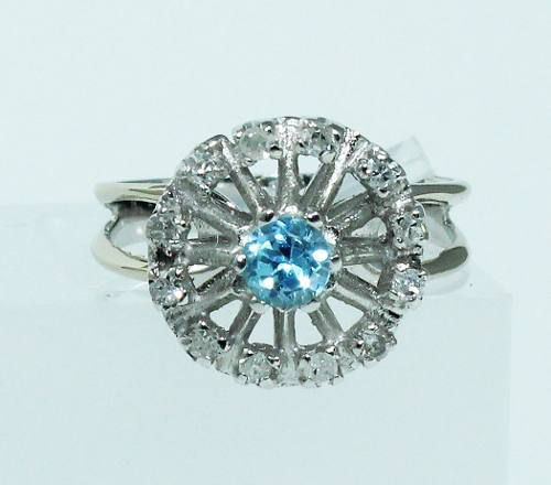 Anel De Ouro Branco 18k750 Diamantes Topázio 1770
