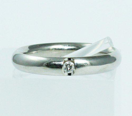 Anel De Ouro Branco 18k750 Diamante 1765