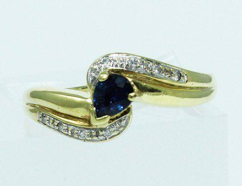 Anel De Ouro 18k750 Diamantes Safiras Azuis 1742