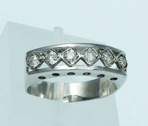 Anel De Ouro Branco 18k750 Diamantes 1734