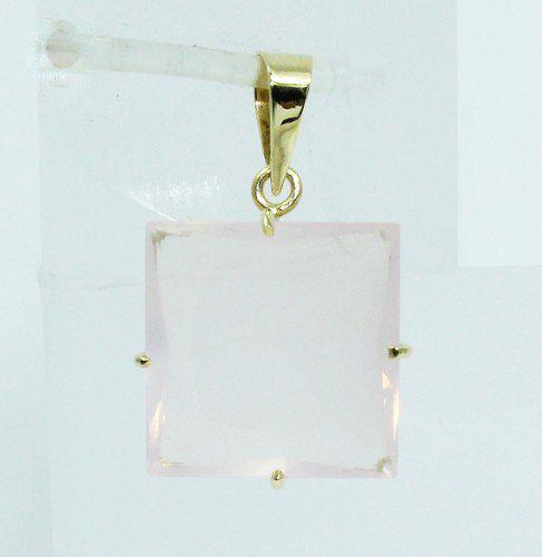 Pingente De Ouro 18k750 Quartzo Rosa P540