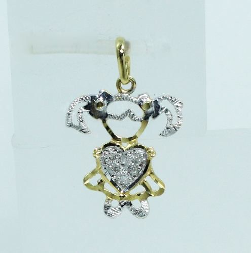 Pingente De Ouro 18k750 Diamantes Menina P533
