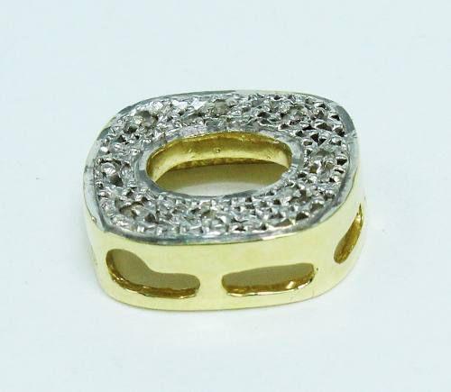 Pingente De Ouro 18k750 Diamantes Letra O P524