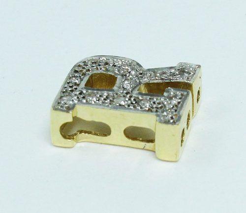 Pingente De Ouro 18k750 Diamante Letra R P522