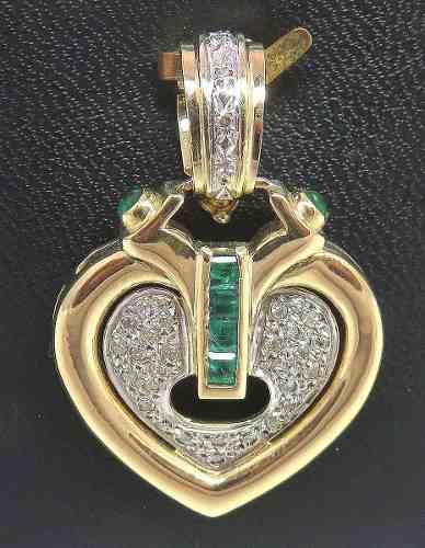 Pingente De Ouro 18k750 Coração Diamantes P191